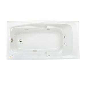 Jacuzzi Centra® 60 x 36 in. 8-Jet Acrylic Rectangle Drop-In or Skirted Whirlpool Bathtub with Right Drain and J2 Basic Control JCET6036WRL2XX
