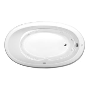 Jacuzzi Gallery™ 72 x 42 in. 8-Jet Acrylic Oval Drop-In or Undermount Whirlpool Bathtub with Right Drain and J2 Basic Control JGAL7242WRL2XX