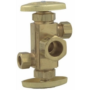 5/8 x 3/8 x 3/8 in. Rough Brass Compression Dual Angle Supply Stop Valve WDV389400