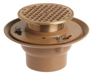 Jay R. Smith Manufacturing 9 in. No-Hub Floor Drain with 5 in. Square Top Nickel Bronze S2005YB05NB