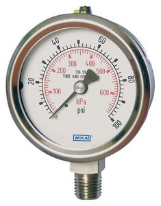 Wika 2-1/2 x 1/4 in. 30 psi Stainless Steel Lower Mount Pressure Gauge in Stainless Steel W9833590