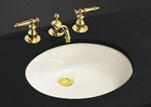 Kohler Caxton® No-Hole Undermount Bathroom Sink with Glazed Underside and Clamp Assembly K2210-G