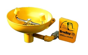 Bradley Corporation BradTect® Wall Mount Eye Wash Plastic Bowl in Yellow BS19220