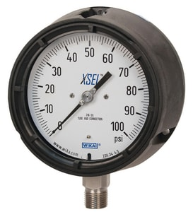 Wika 4-1/2 x 1/4 in. 200 psi Lower Mount Pressure Gauge in Stainless Steel W9834605