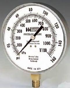 Weiss Instruments 4-1/2 in. Pressure Gauge W4CTS1