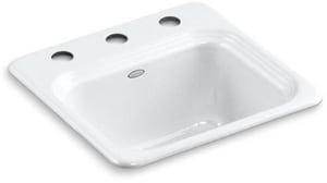 Kohler Northland™ 15 X 15 In. Drop-In Cast Iron Entertainment Sink K6579-3-0