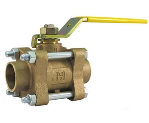Milwaukee Valve 600# Bronze Solder 3-Piece Full Port Blowout-Proof Stem Ball Valve MBA350S