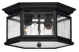 Hinkley Lighting 8-3/4 in. 60 W 2-Light Medium Outdoor Semi-Flush Mount Ceiling Fixture H1683BK