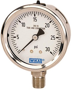 Wika 1/4 in. 30 psi Stainless Steel Lower Mount Fill Pressure Gauge in Stainless Steel W9833638