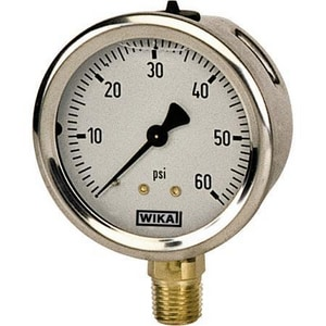 Wika 4 x 1/4 in. 60 psi Brass Lower Mount Fill Pressure Gauge in Stainless Steel W9699117
