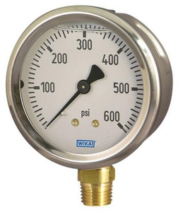 Wika Instrument 4 in. Stainless Steel Lower Mount Pressure Gauge W96991