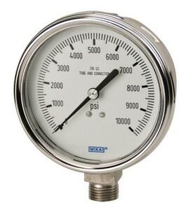 Wika 4 x 1/2 in. 0-600 psi Stainless Steel Liquid Filled Pressure Gauge W9832666