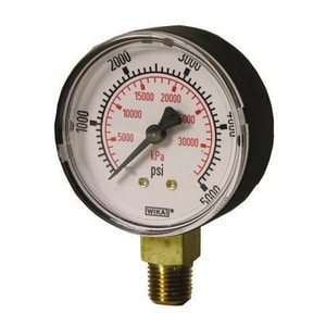 Wika Instrument 4 x 1/4 in. Brass Lower Mount Pressure Gauge W42559