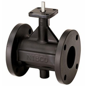 Nibco 200 psi Flanged Polyamide Coated Cast Iron Butterfly Valve with Locking Lever Handle NFC27653