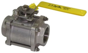 Apollo Conbraco 800psig 3-Piece Stainless Steel Threaded Full Port Isolation Ball Valve with Lever Handle A86R1001