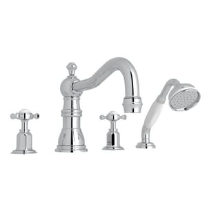 Rohl Perrin & Rowe® Edwardian 20 gpm 4-Hole Deckmount Tub Filler with Hand Shower with Double Cross Handle RU3746X