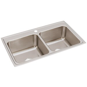 Elkay Gourmet® 1-Hole 2-Bowl Topmount Deep Kitchen Sink EDLR3722101