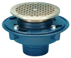Zurn Industries No-Hub Floor Drain with 5 in. Round Top Blue ZZN415NH5B