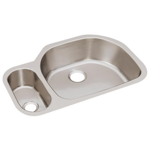 Elkay Harmony™ 2-Bowl Undermount Sink in Lustrous Highlighted Satin EELUH3221L