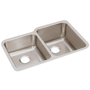 Elkay Harmony™ 31 x 20 in. 45/55 Double Bowl Undermount Sink Stainless Steel EELUH3120L