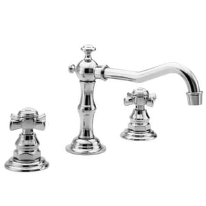 Newport brass fairfield 3 hole widespread lavatory faucet with double cross handle in polished Newport brass bathroom faucets