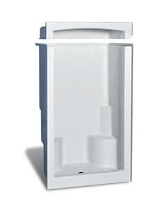 Aker Plastics 60 x 51-1/2 in. Shower with Two Seats in Biscuit A141029000007000