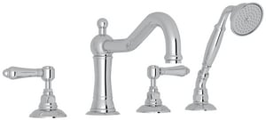 Rohl Italian Country Bath 4-Hole Tub Filler with Double Lever Handle RA1404LM