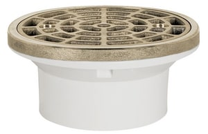 Sioux Chief 2 in. PVC Floor Drain with Cast Satin- FiNickelsh Nickelckecl Bronze Ring and Strainer S84020PNR