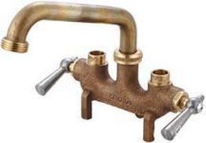 Central Brass Double Lever Handle Direct Sweat Laundry Faucet for Wall Mount in Rough Brass C0466