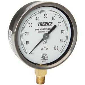 H.O. Trerice 4-1/2 x 1/4 in. Brass Pressure Gauge T600CB0BLR