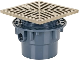 Sioux Chief On-Grade Adjustable Floor Drain with Square Ring Round Strainer S8423PNQ
