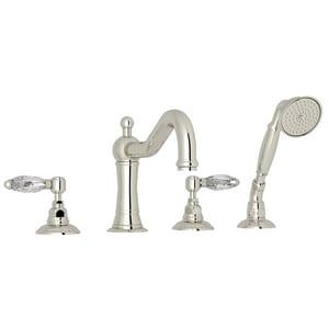 Rohl Acqui Double Handle 4-Hole Cream Stone Single Lever Deck Mount Tub Faucet RA1404L