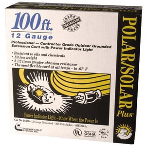Coleman Cable Systems 12/3 in. x 100 ft. -20 to +60 C Extension Cord C016890002