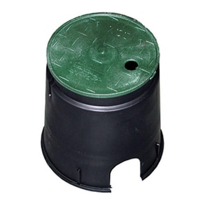 Jones Stephens 6 in. Round Valve Box & Lid in Black|Green JM06006