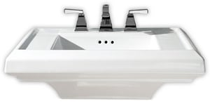 American Standard Town Square® 3-Hole Pedestal Rectangular Lavatory Sink with 8 in. Centerset A0780008