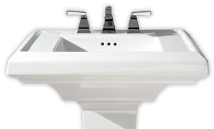 American Standard Town Square® 3-Hole Pedestal Rectangular Lavatory Sink with 4 in. Faucet Spacing in White A0790004020