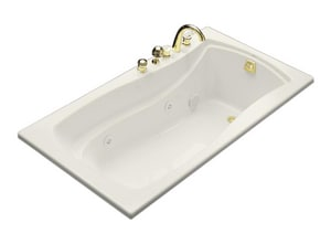 Kohler Mariposa® 66 x 35-7/8 in. Drop-In Whirlpool Tub with Heater and Reversible Drain K1224-H