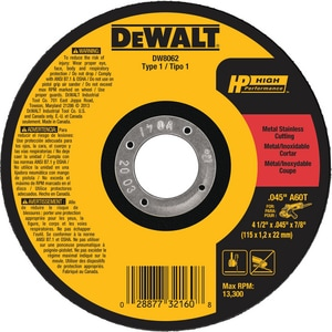 Dewalt Metal Thin Cut Off Wheel DDW8062