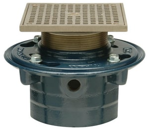 Zurn 3 x 7-1/10 in. No-Hub Floor Drain with 5 in. Square Top Blue ZZN4153NH5SP