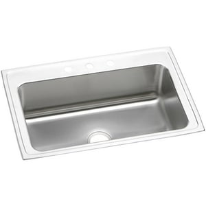 Elkay Gourmet® 3-Hole 1-Bowl Topmount Kitchen Sink in Lustrous Highlighted Satin EDLRS3322103
