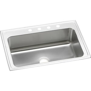 Elkay Gourmet® 4-Hole 1-Bowl Topmount Kitchen Sink in Lustrous Highlighted Satin EDLRS3322104