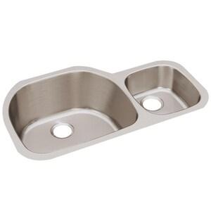 Elkay Harmony™ 2-Bowl Undermount Kitchen Sink with Rear Center Drain EELUH362110R
