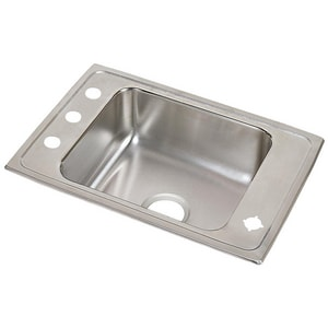Elkay Lustertone® 1-Bowl Top Mount Classroom Sink with Rear Center Drain EDRKAD2517652LM