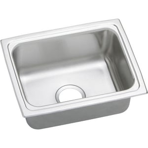 Elkay Gourmet Pacemaker® 1-Bowl Topmount Kitchen Sink with Center Drain in Bright Satin EPFR2519
