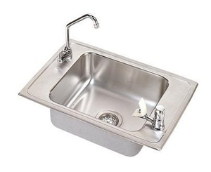 Elkay Pacemaker® 2-Hole 1-Basin Topmount Classroom Sink with Vandal-Resistant Faucet, Bubbler and Drain Fitting EPSDKRC2517VRC