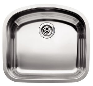 Blanco America Wave™ Single Bowl Undercounter Sink, 10 in. Bowl Depth in Polished Satin B440249