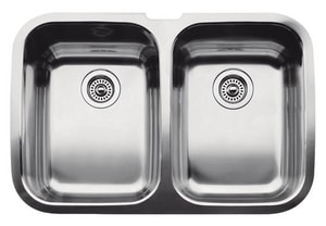 Blanco America Supreme™ 8 in. 2-Bowl Stainless Steel Undermount Kitchen Sink B440207