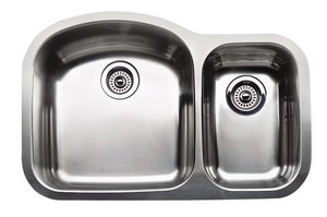Blanco America Wave Plus™ 2-Bowl Stainless Steel Undermount Kitchen Sink B440169