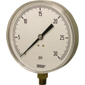 Wika 1/4 in. 100 psi Liquid Filled Pressure Gauge in Stainless Steel W97672150002