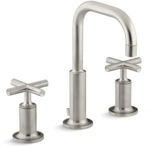 Kohler Purist Widespread Low Gooseneck Lavatory Faucet With Double Cross Handle In Vibrant